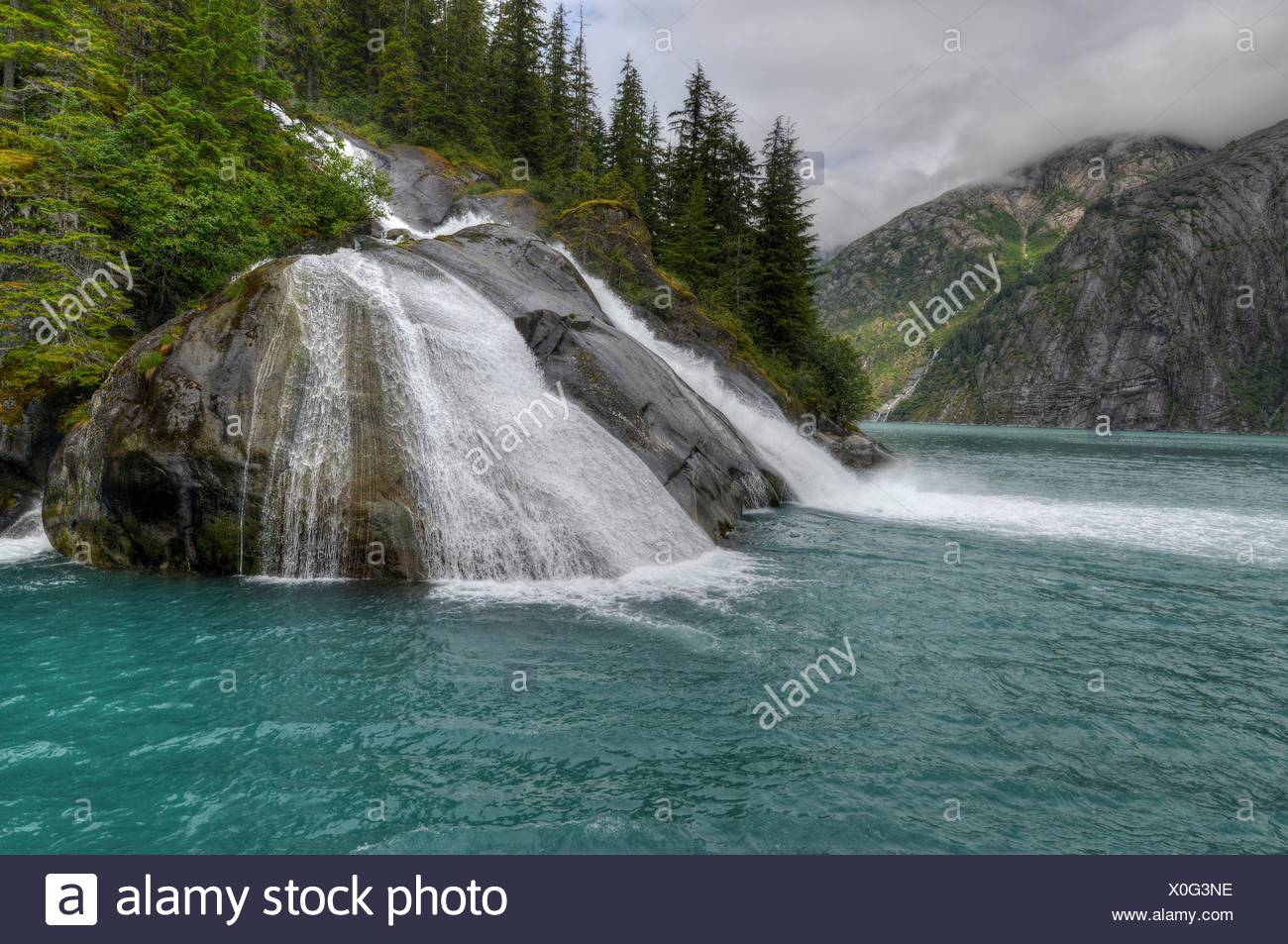 USA, Alaska, Juneau, Tongass National Forest, Ice Falls in Tracy Arm Fjord - Stock Image