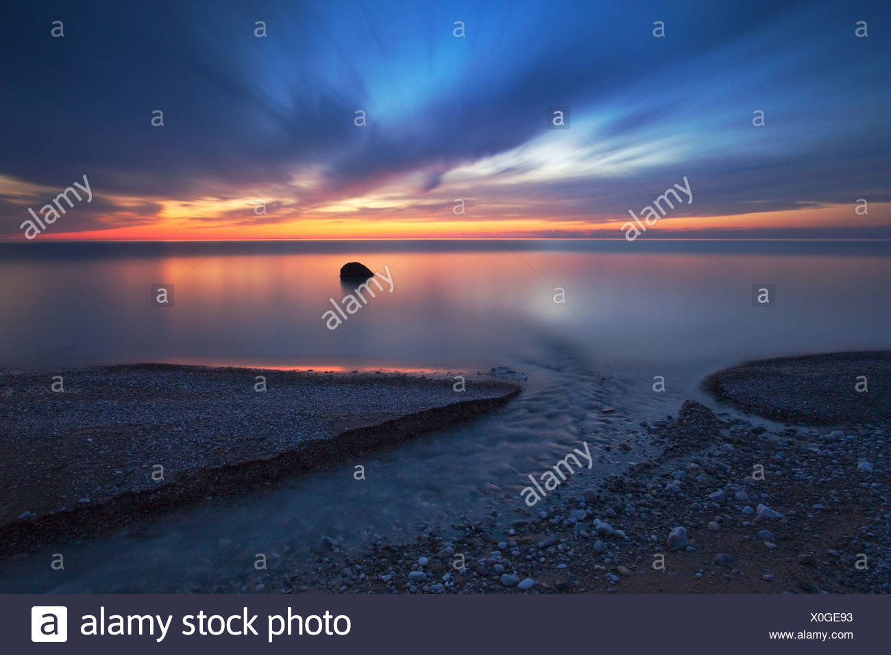 Sunset on on the shore of Lake Huron near Grand Bend Ontario - Stock Image