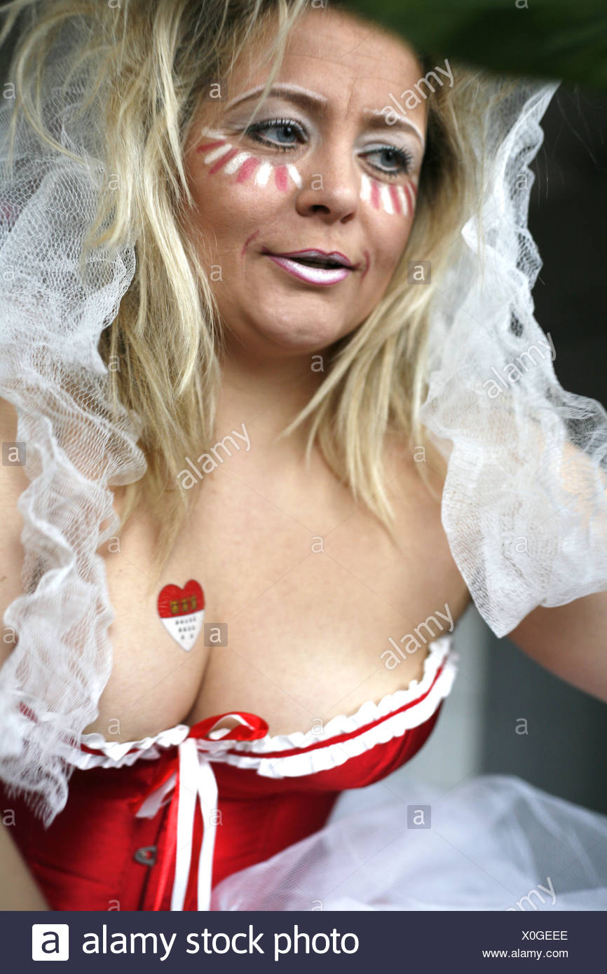 blond woman prepaired for carnival Stock Photo