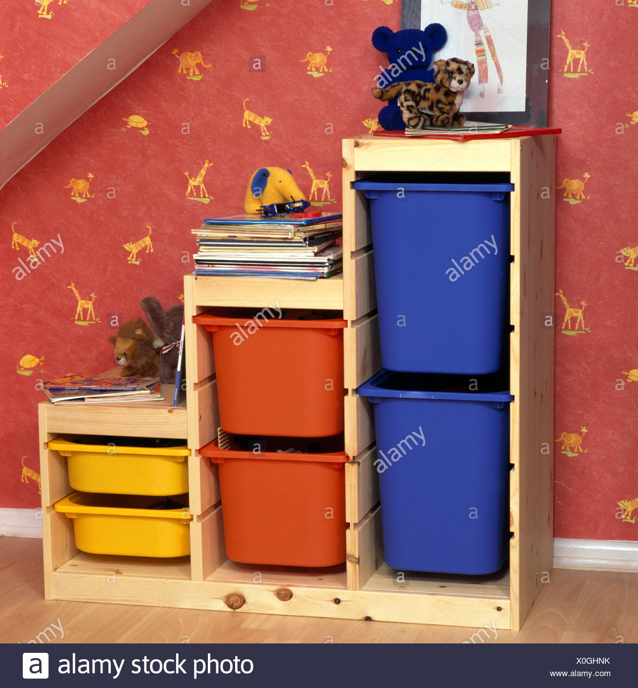 Colorful Plastic Storage Bins In Pine Unit In Childrenu0027s Economy Style  Bedroom