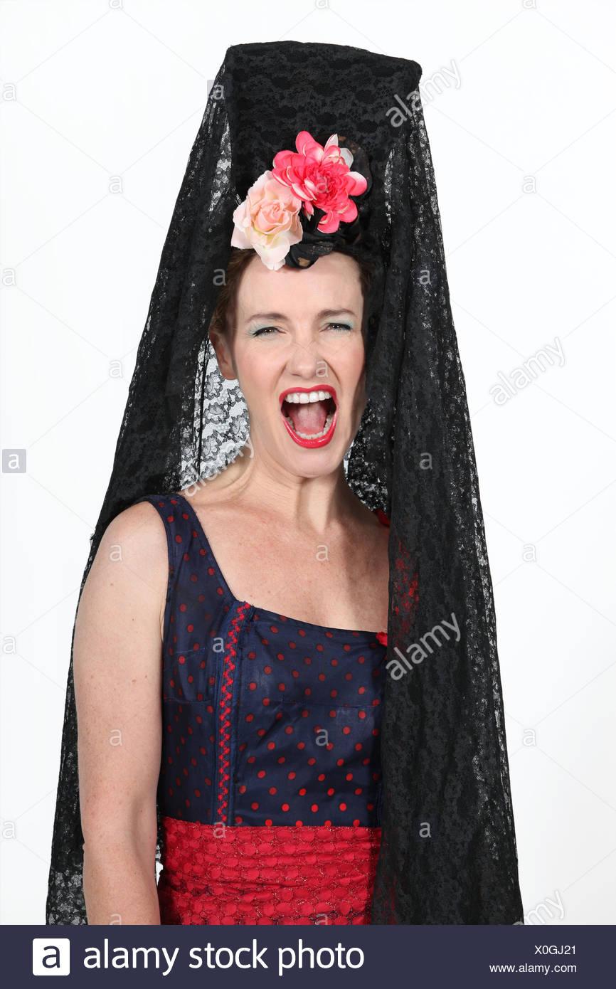 woman, female, costume, spanish, flamenco, dress, fancy, gown, woman, female, - Stock Image