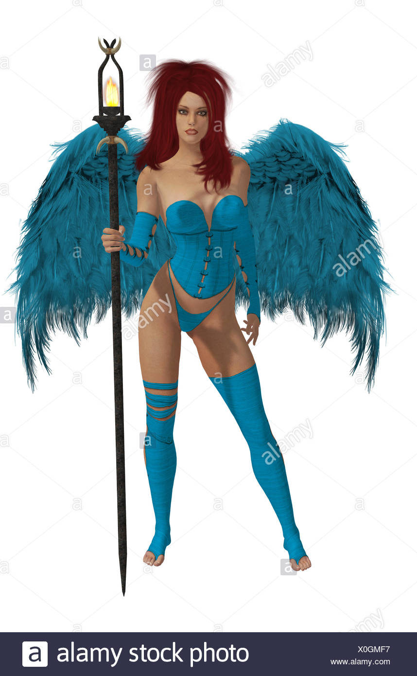 Baby Blue Winged Angel With Red Hair - Stock Image