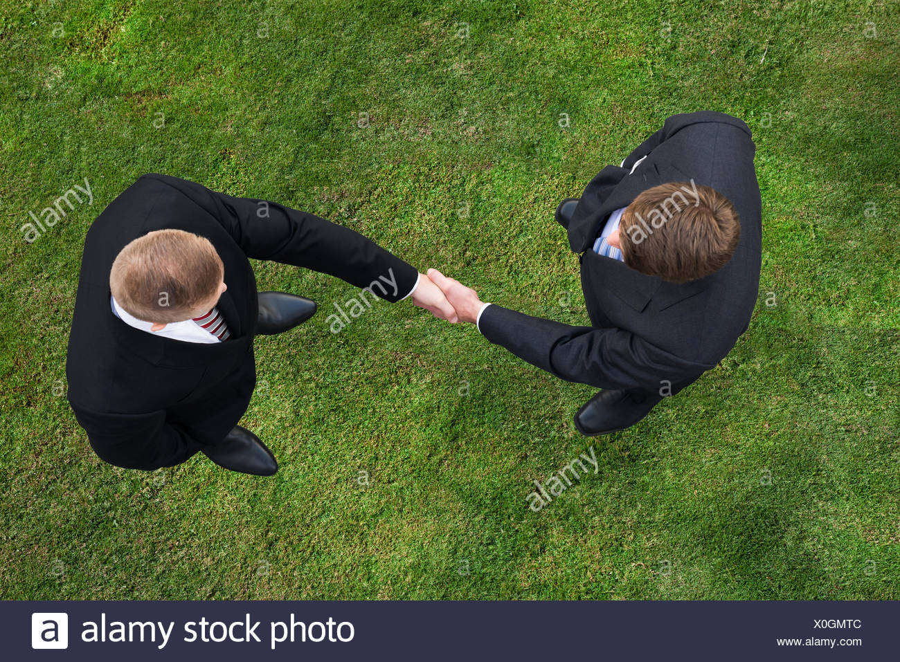 Businessmen Shaking Hands While Standing On Grassy Field - Stock Image