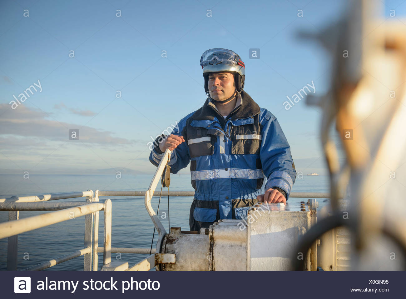 Student at rescue boat training - Stock Image