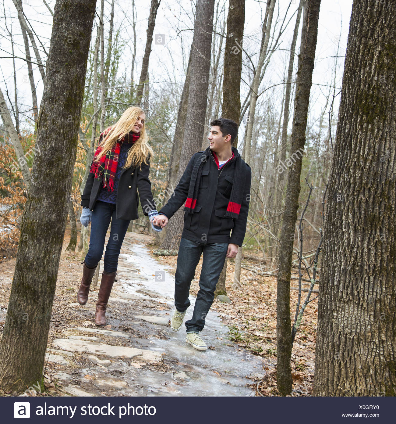 A couple walking hand in hand through a woodland in winter. - Stock Image