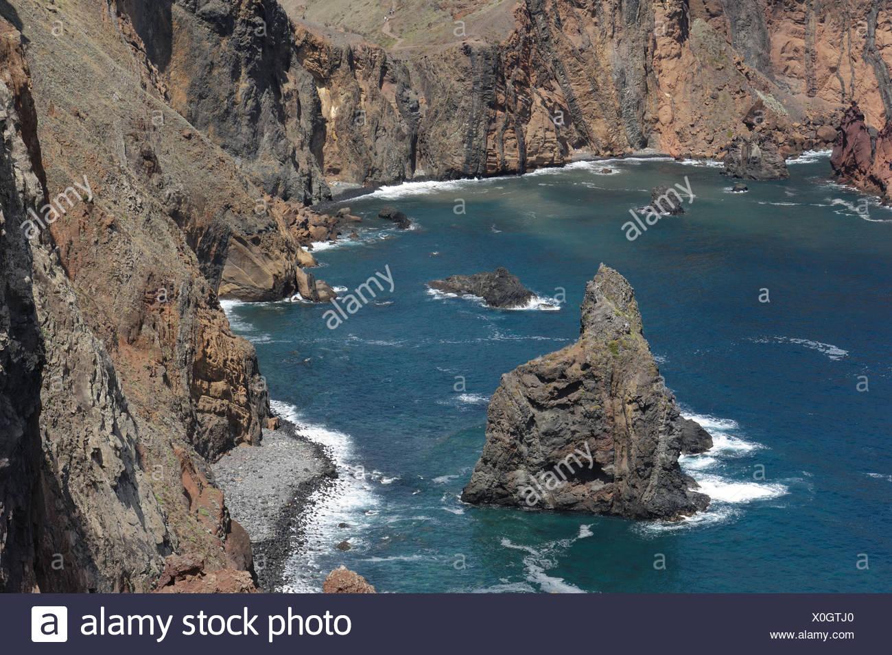 Sea and coastal cliffs near Canical on the north east coast of Madeira - Stock Image