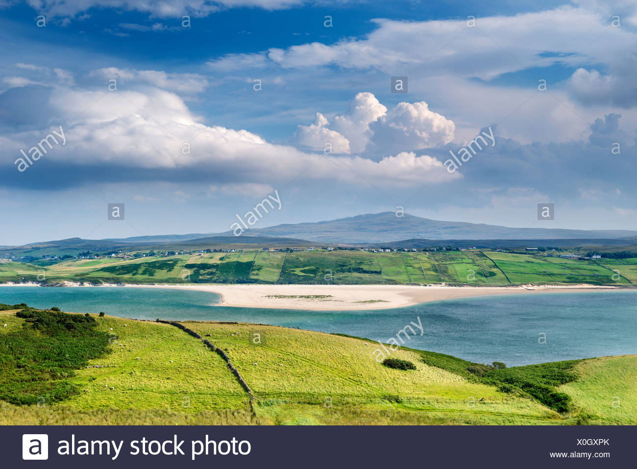 Sparsely populated hills at Kyle of Tongue in the Northern Highlands, Sutherland, Scotland, Great Britain, Europe - Stock Image