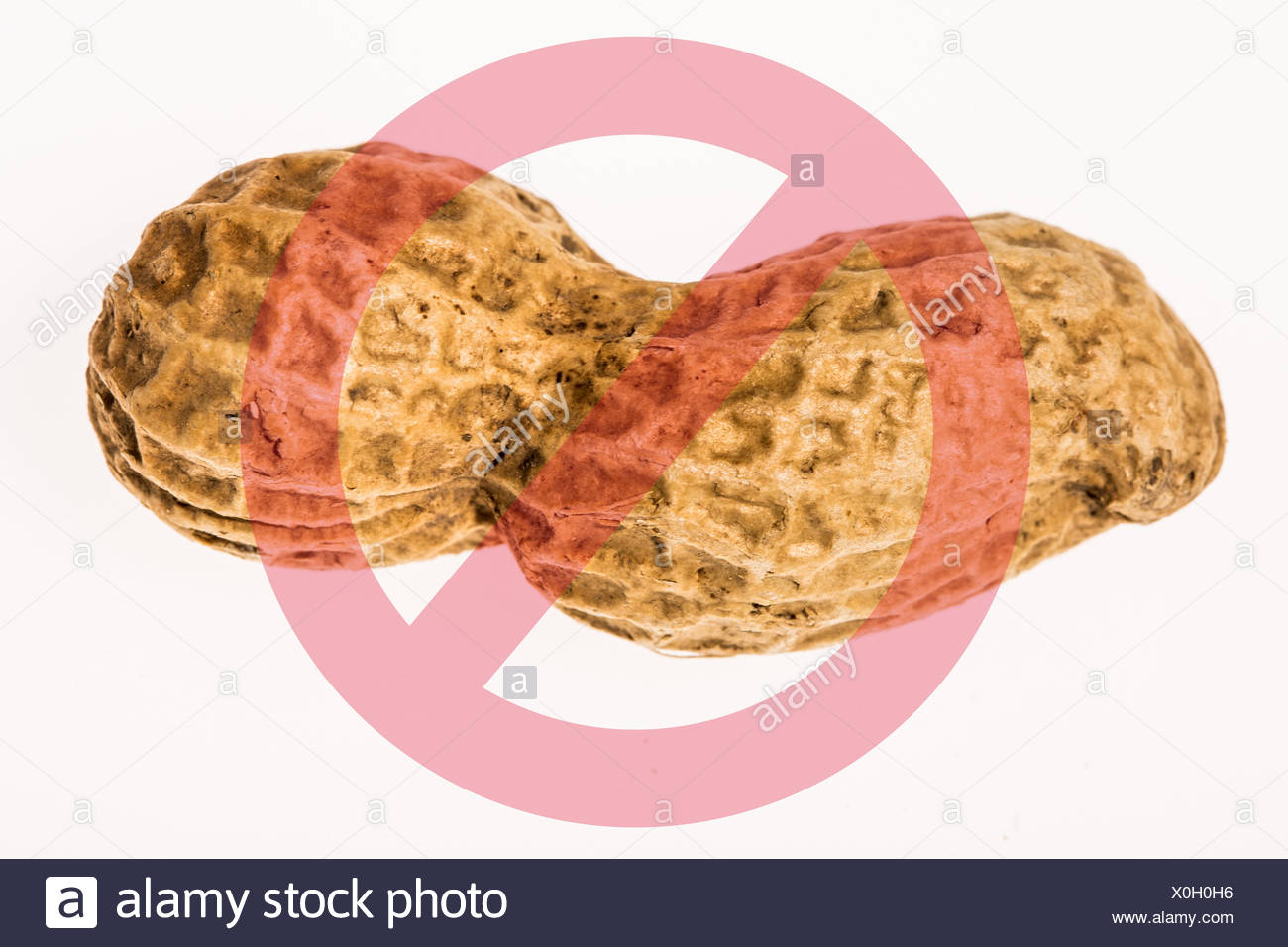 Conceptual image about peanut allergy. - Stock Image