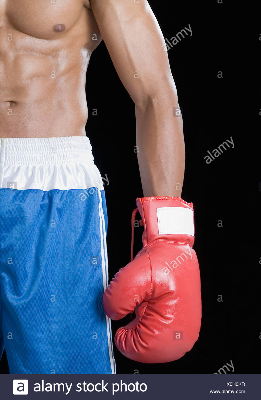 Mid section view of a boxer wearing a boxing glove - Stock Image