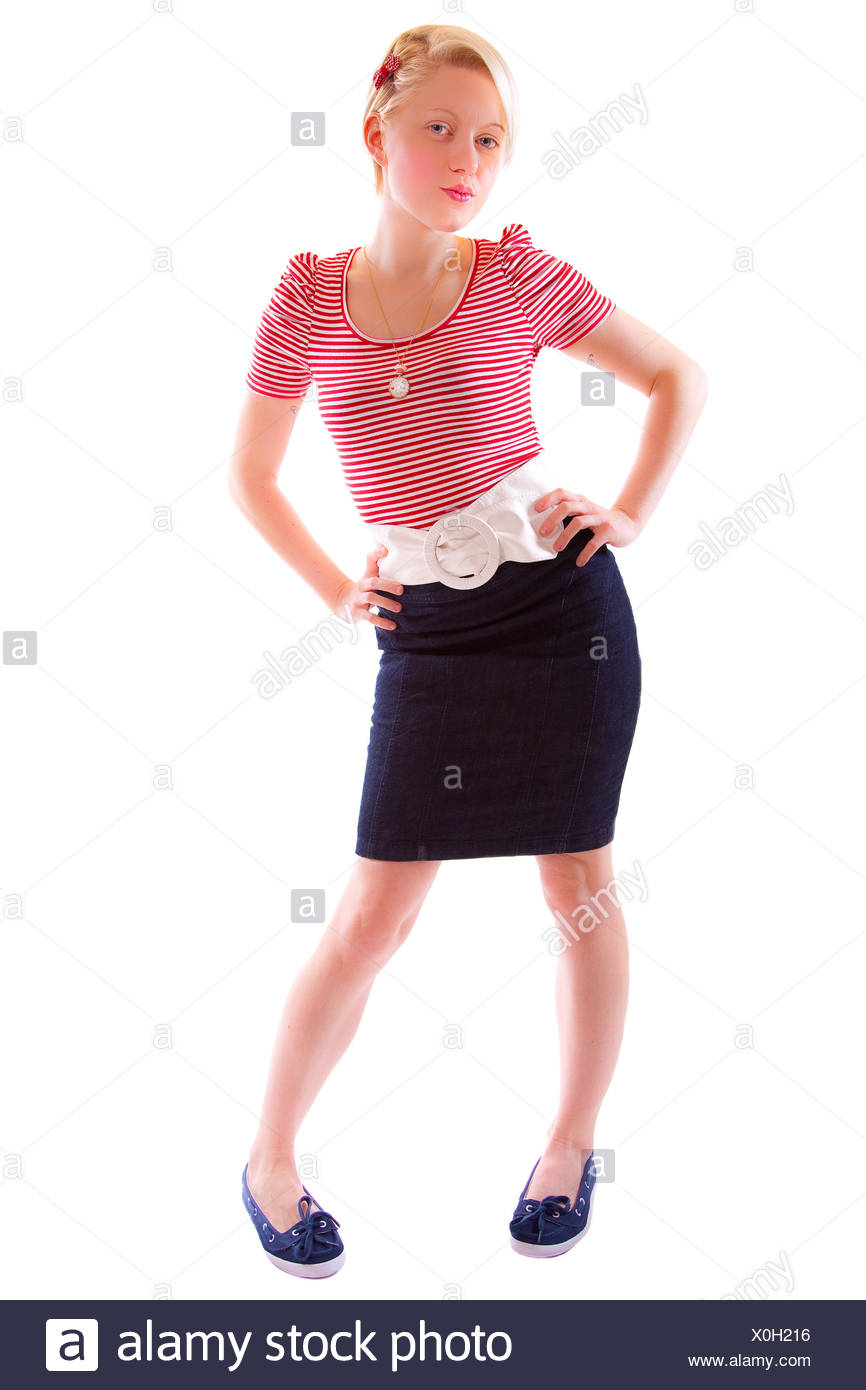 young woman,woman,skirt,belts - Stock Image