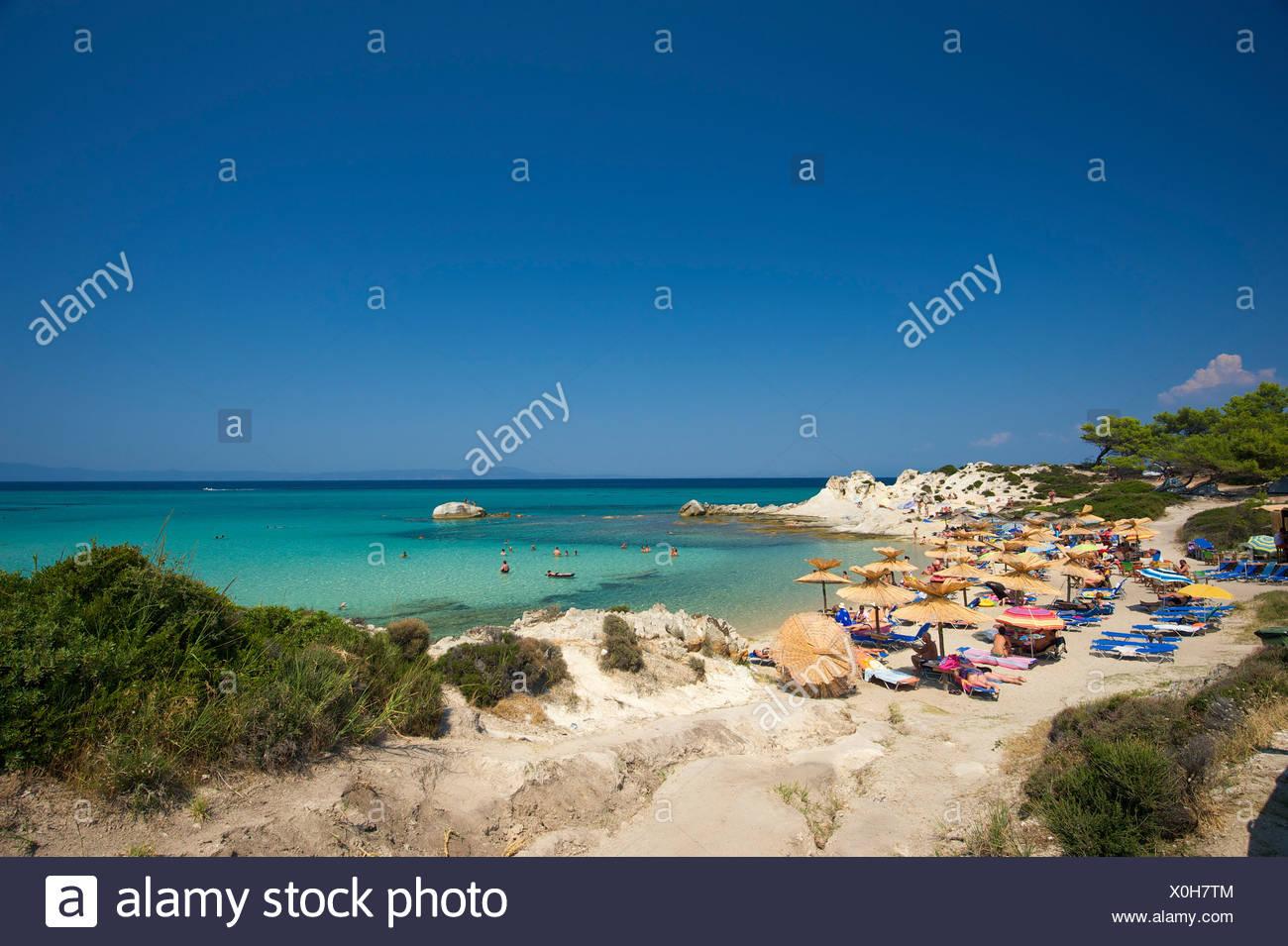 Beach, Portokali Beach, Kavourotypes, Sithonia, Halkidiki, Greece, Europe Stock Photo
