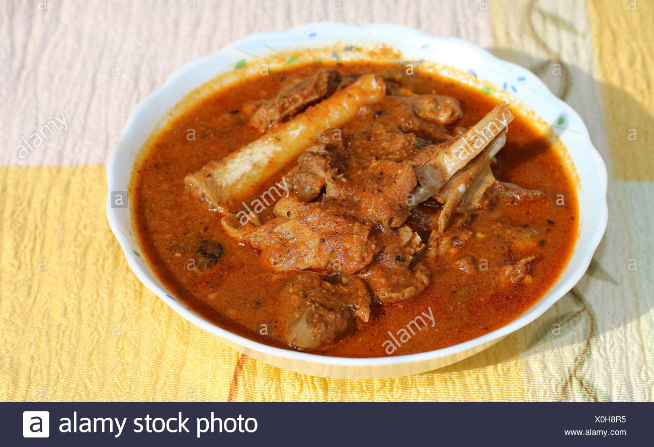 Mutton curry with thick spicy gravy - Stock Image