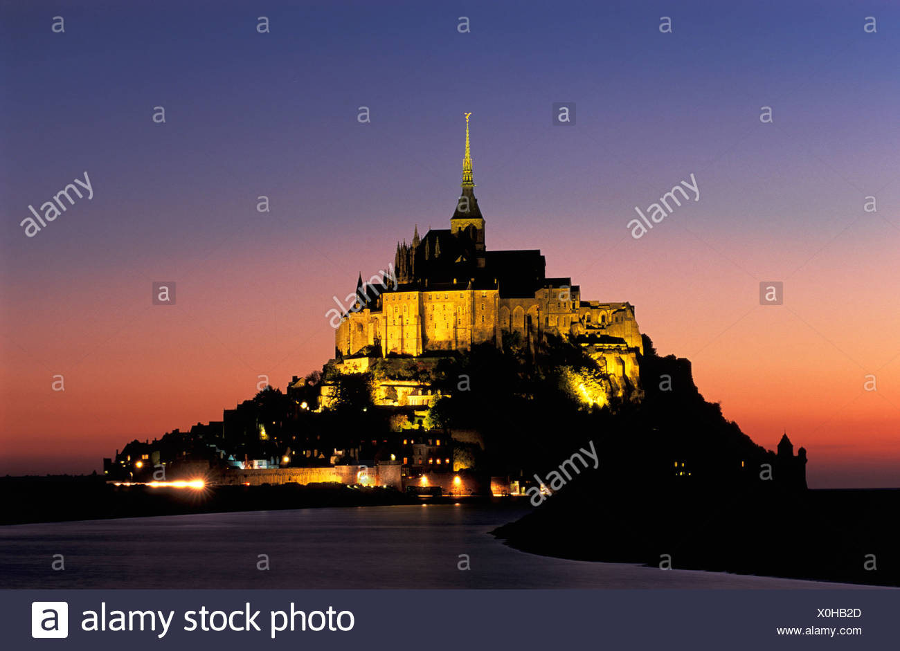 Mont St. Michel, Normandy, Normandie, France, Europe, night - Stock Image
