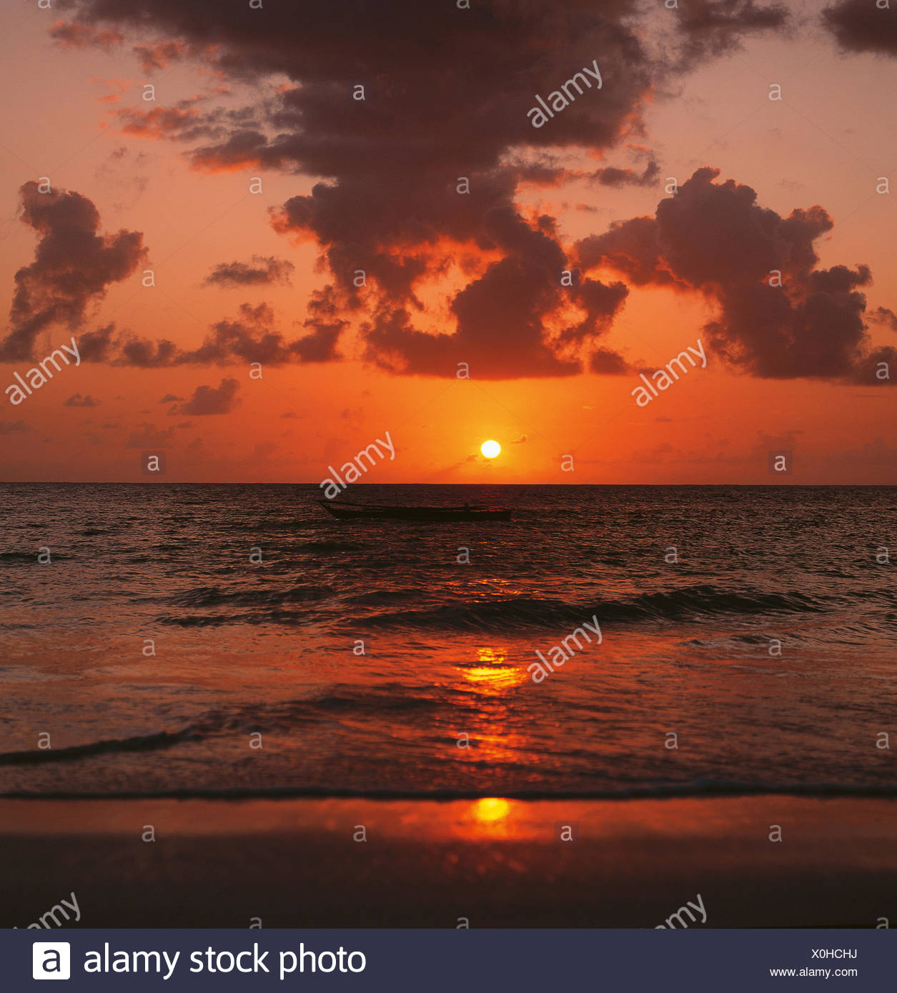 Sunset, Lake Malawi - Stock Image