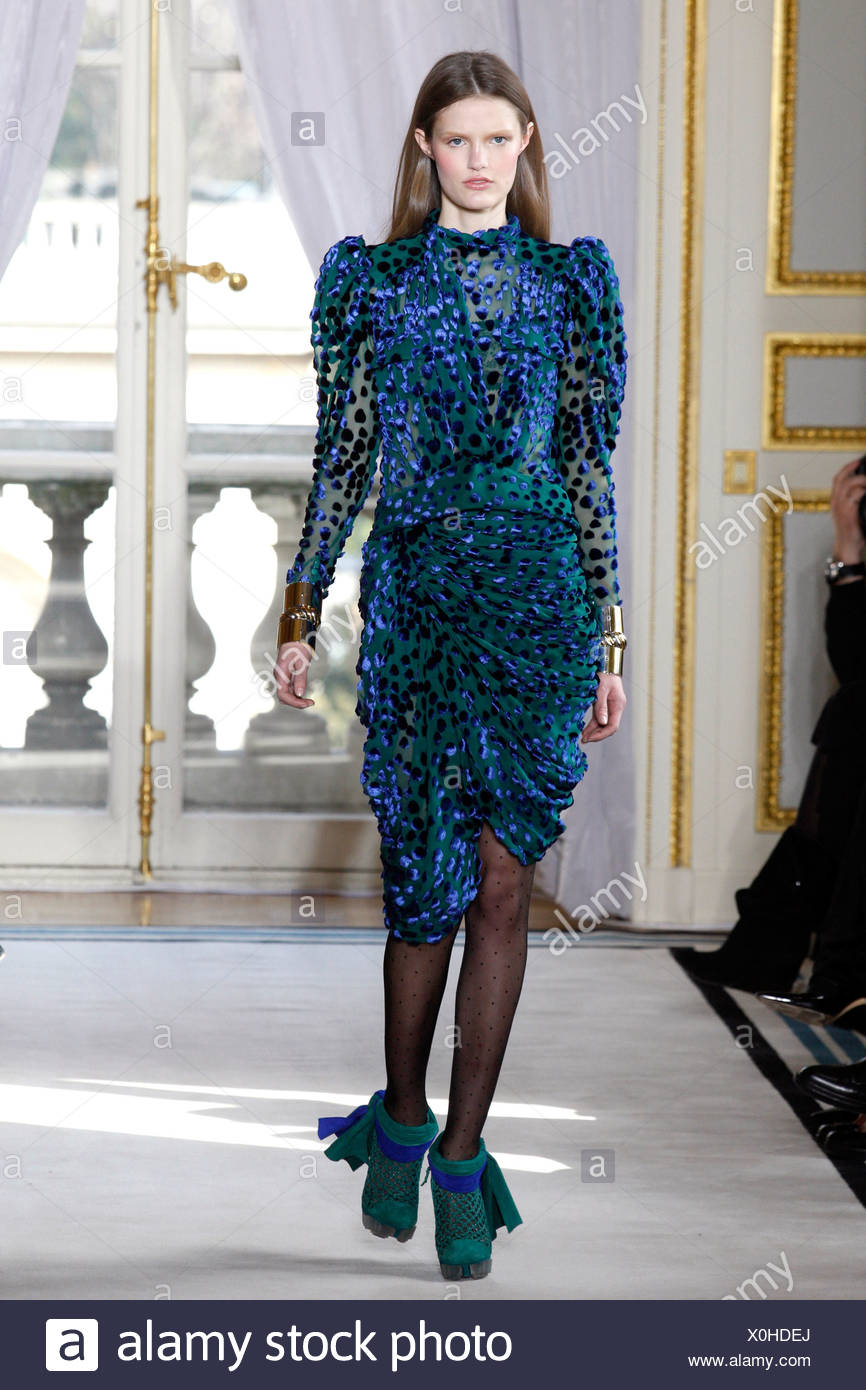 67210d8e4337 Balenciaga Paris Ready to Wear Autumn Winter Knee length green and blue  dress swagged skirt