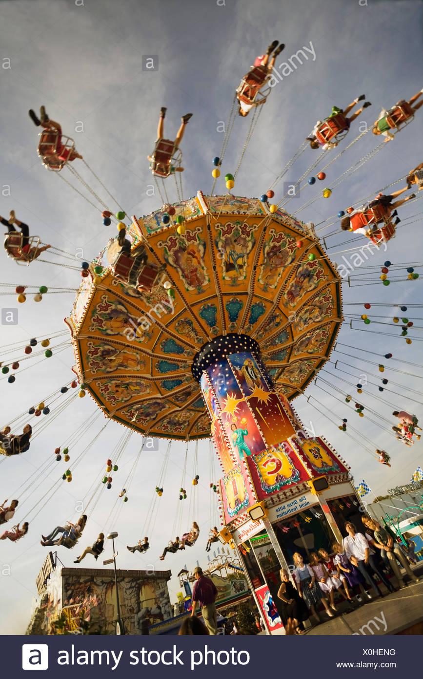 flying swing on the Oktoberfest, Germany, Bavaria, Muenchen Stock Photo