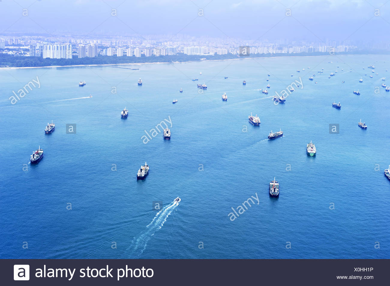Singapore shipping industry - Stock Image