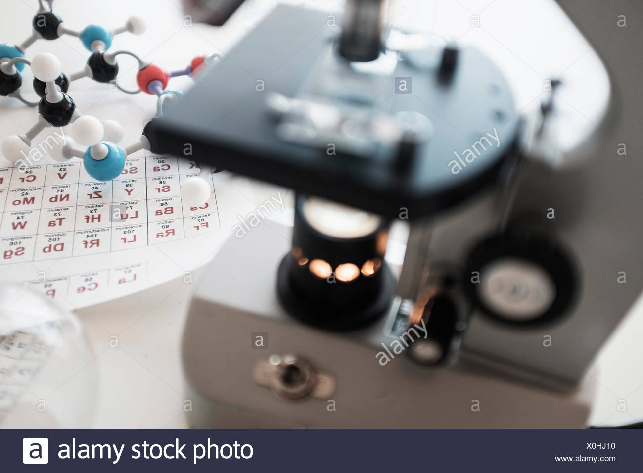 Terrific Periodic Table And Microscope On Desk Stock Photo 275753212 Beutiful Home Inspiration Truamahrainfo