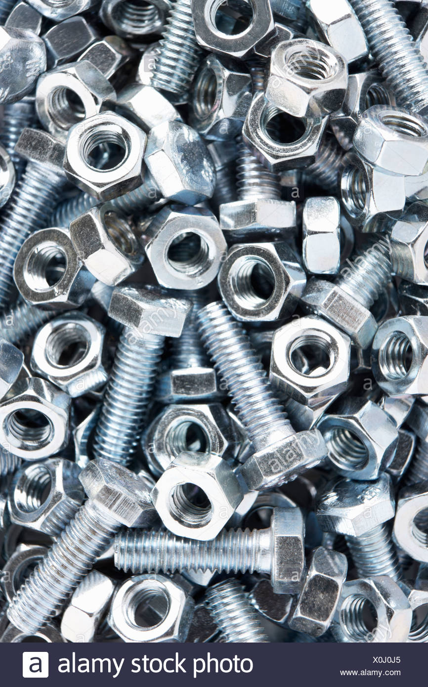 Close up of nuts and bolts Stock Photo