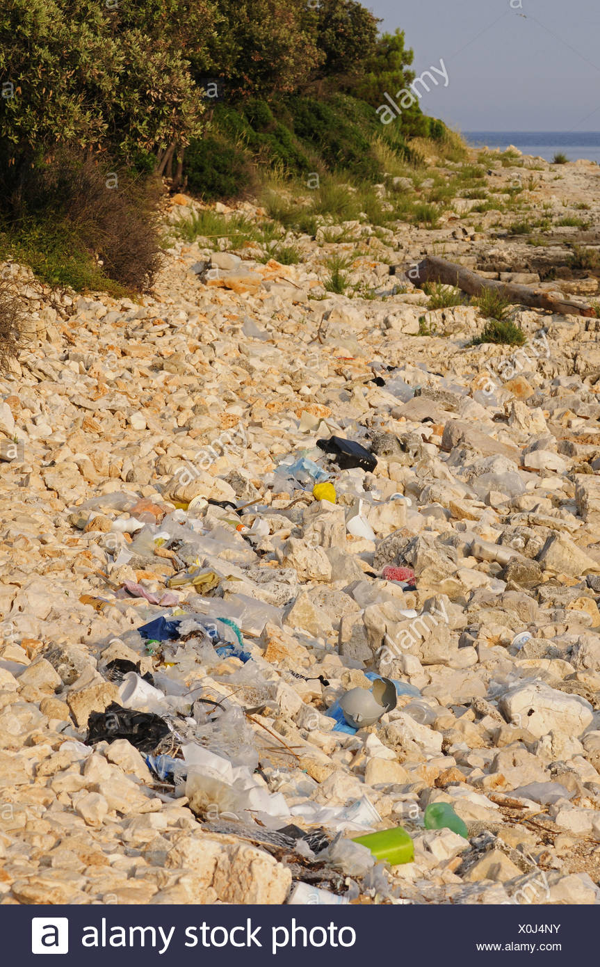 stony beach covered with stranded garbage, Croatia, Istria - Stock Image