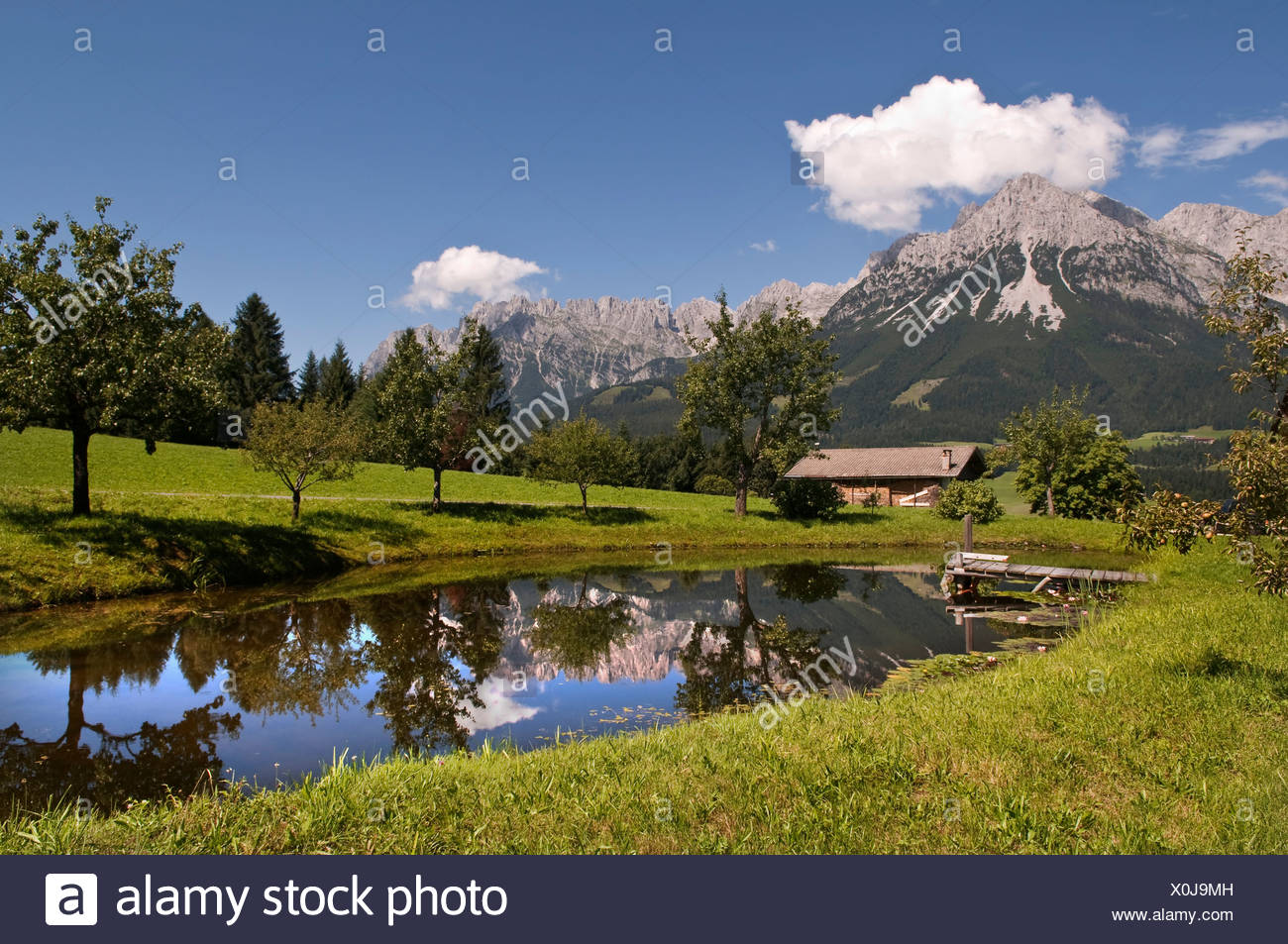 Bergsee Lake in front of the Wilder Kaiser Range, Tirol, Austria, Europe - Stock Image
