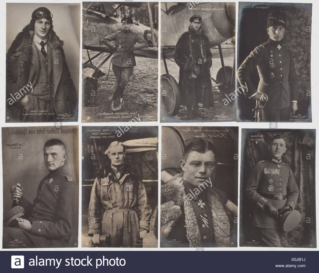 Collection of 80 portrait postcards, of German flying a historic, historical, people, 1910s, 20th century, troop, troops, armed forces, military, militaria, army, wing, group, air force, air forces, photograph, photo, photographs, object, objects, stills, clipping, clippings, cut out, cut-out, cut-outs, man, men, male, Additional-Rights-Clearences-NA - Stock Image