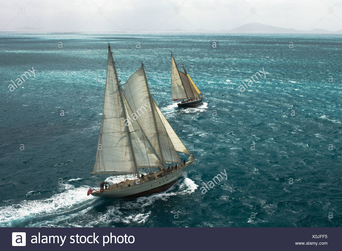 The sailing vessels Ocean Star and Argo sailing in a stiff breeze. - Stock Image