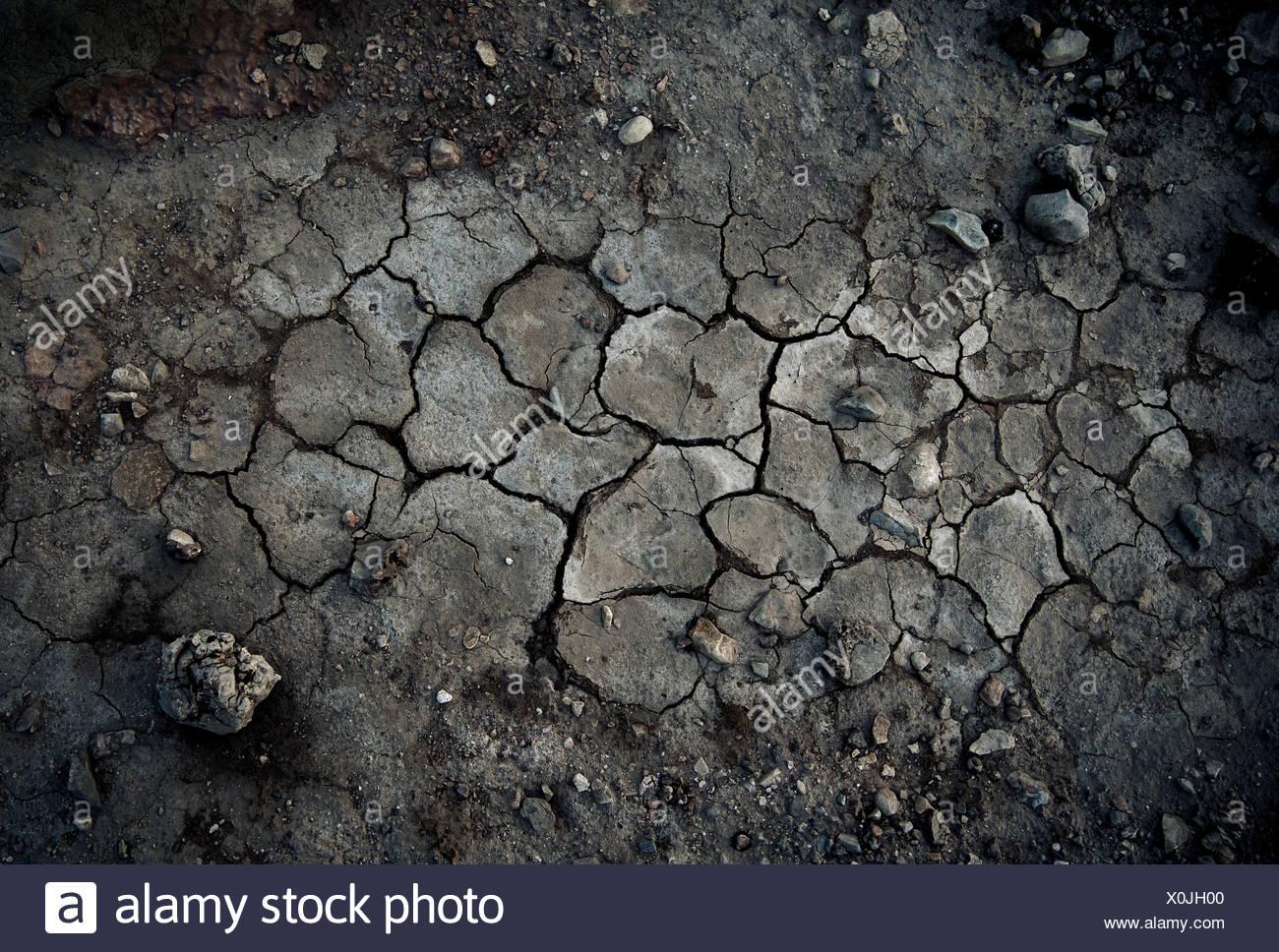 Cracks in the desert ground, Egypt - Stock Image