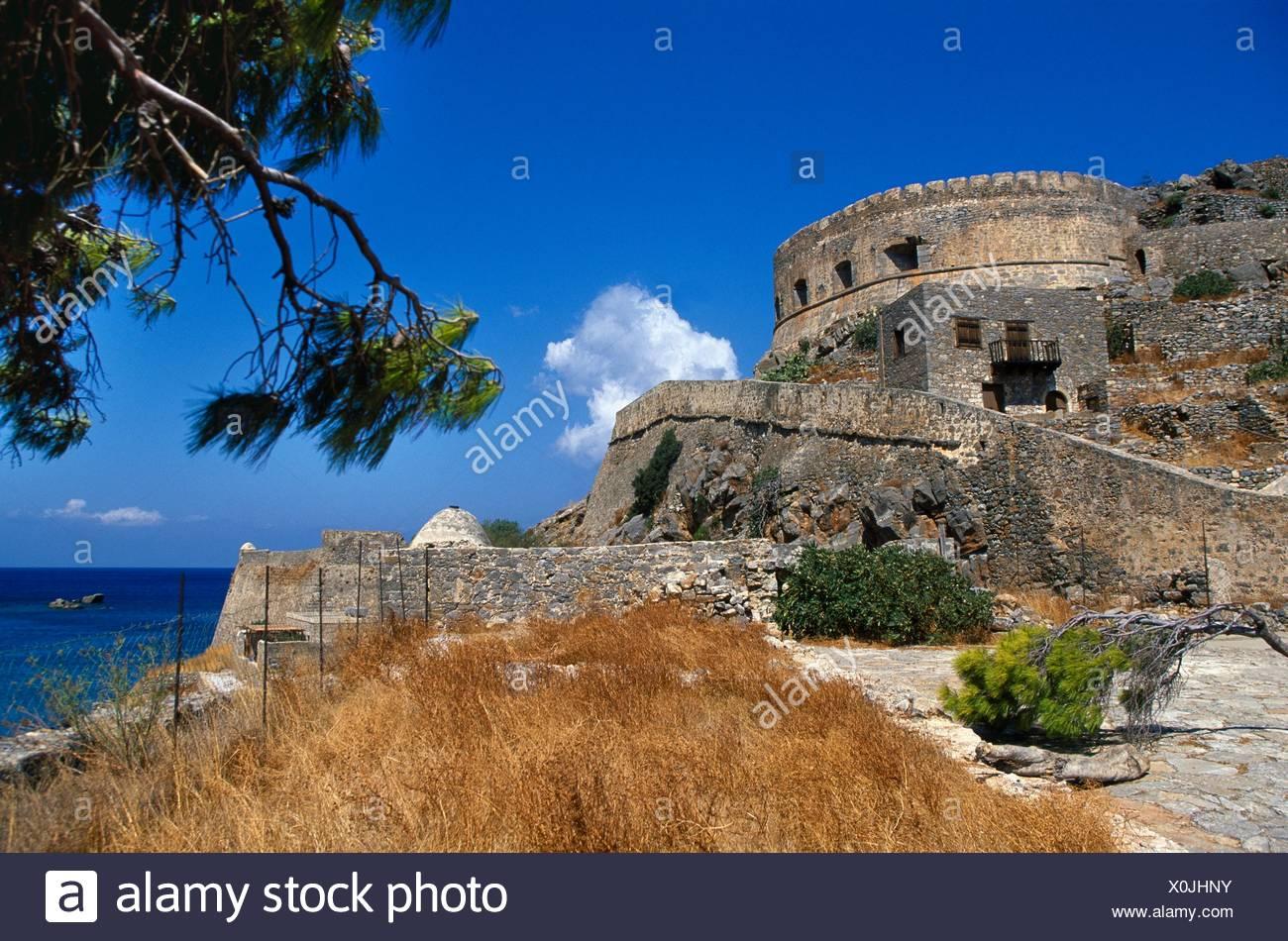 16th Century Venetian Fortress  Spinalonga Island  Gulf of Mirambello, Crete  Greece. Stock Photo