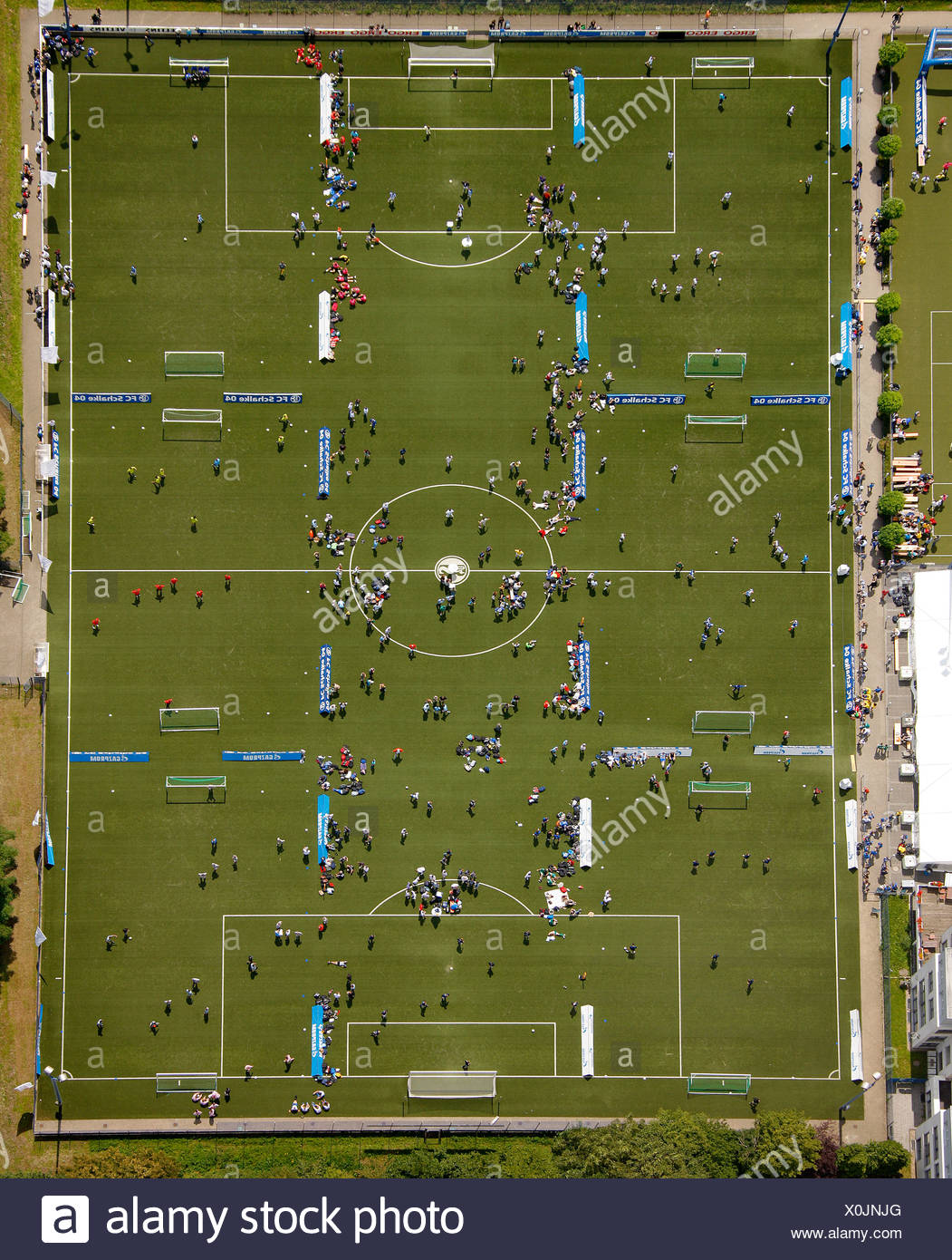 Aerial view, Schalke Arena, S04, football pitches, football tournament, Gelsenkirchen, Ruhr Area, North Rhine-Westphalia - Stock Image