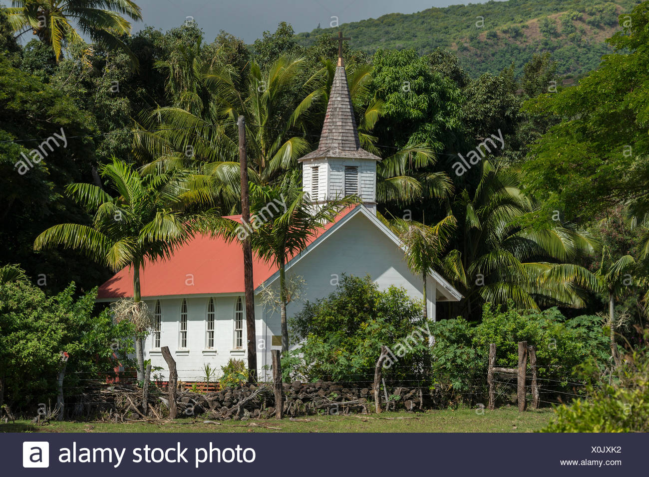 USA,Hawaii,Molokai,Our Lady of seven sorrows,church Stock Photo
