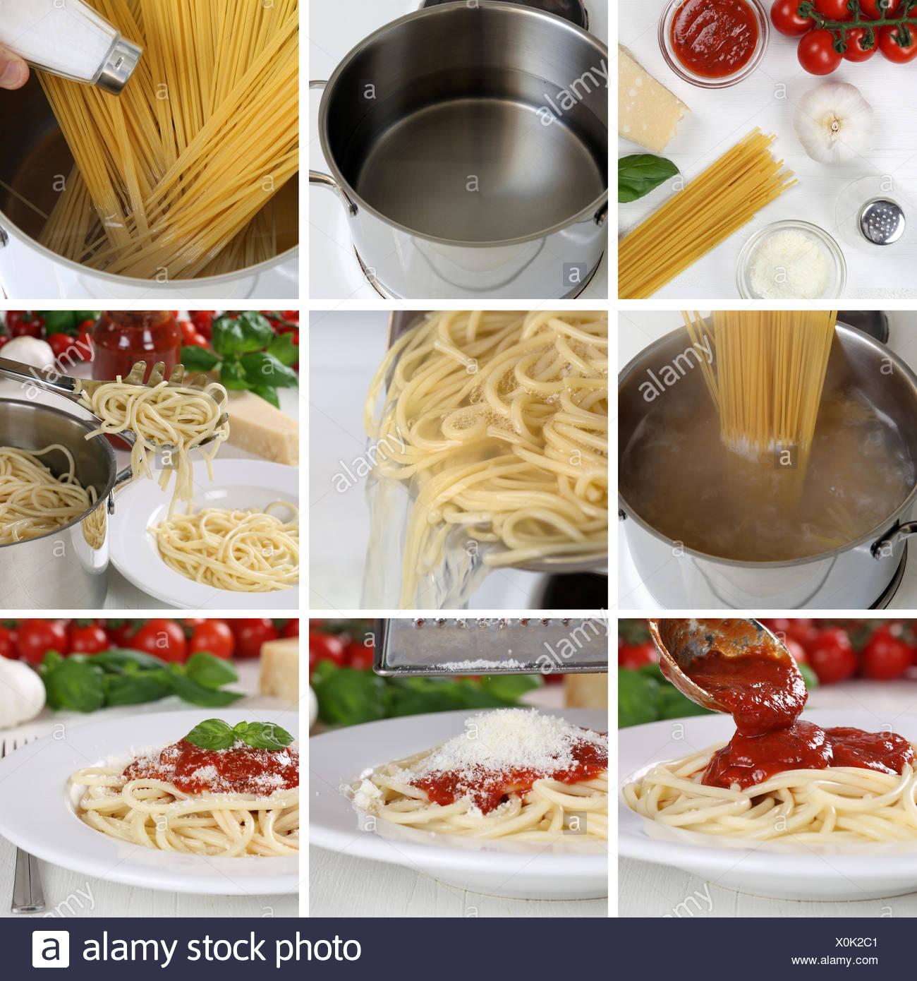 Spaghetti Nudeln Pasta Mit Tomaten Sauce Und Basilikum Kochen Anleitung Schritt F R Schritt Stock Photo Alamy
