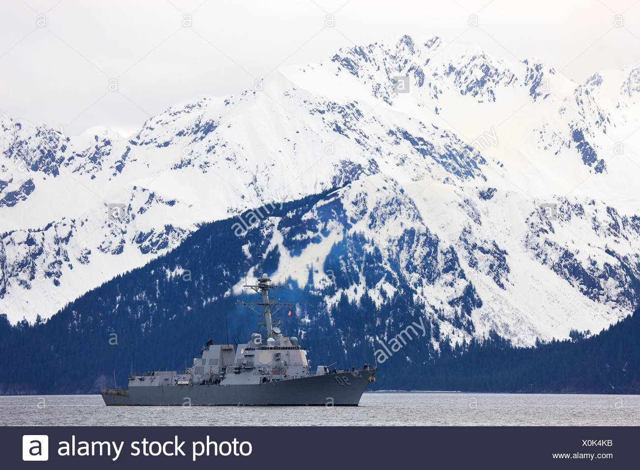 The guided missile destroyer USS Chaffee (90) Seward, Alaska. - Stock Image