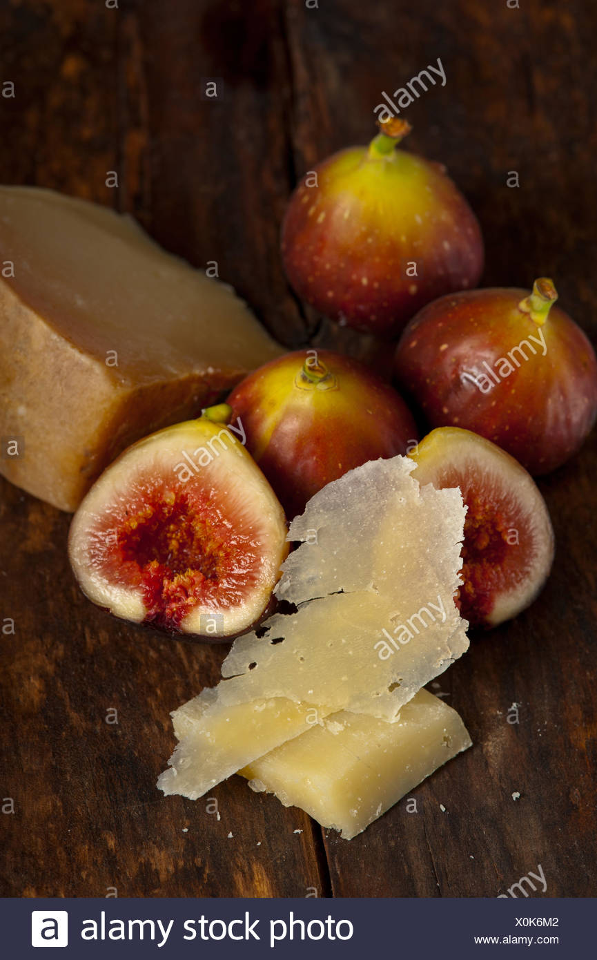 pecorino cheese and fresh figs Stock Photo