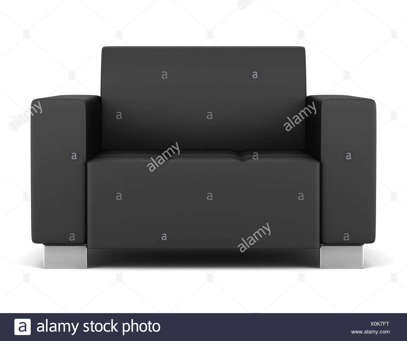 black leather armchair isolated on white - Stock Image