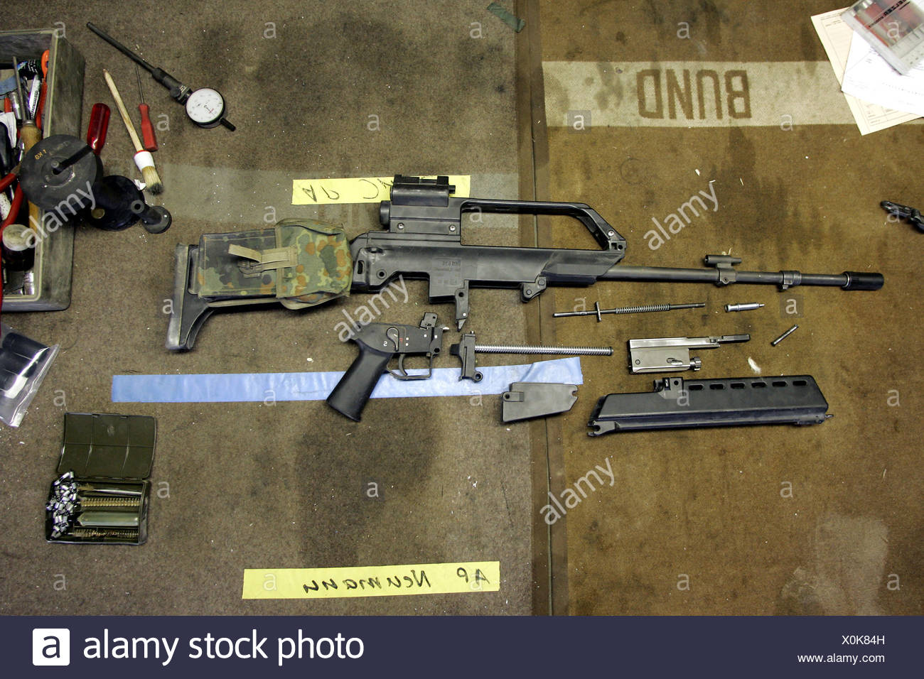 Disassembled weapon G36 - Stock Image
