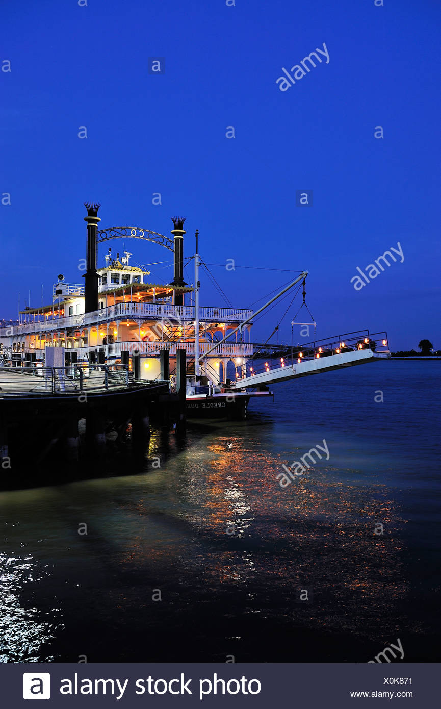 Creole Queen, Riverwalk, Mississippi, River, French Quarter, New Orleans, Louisiana, USA, United States, America, paddle steamer - Stock Image