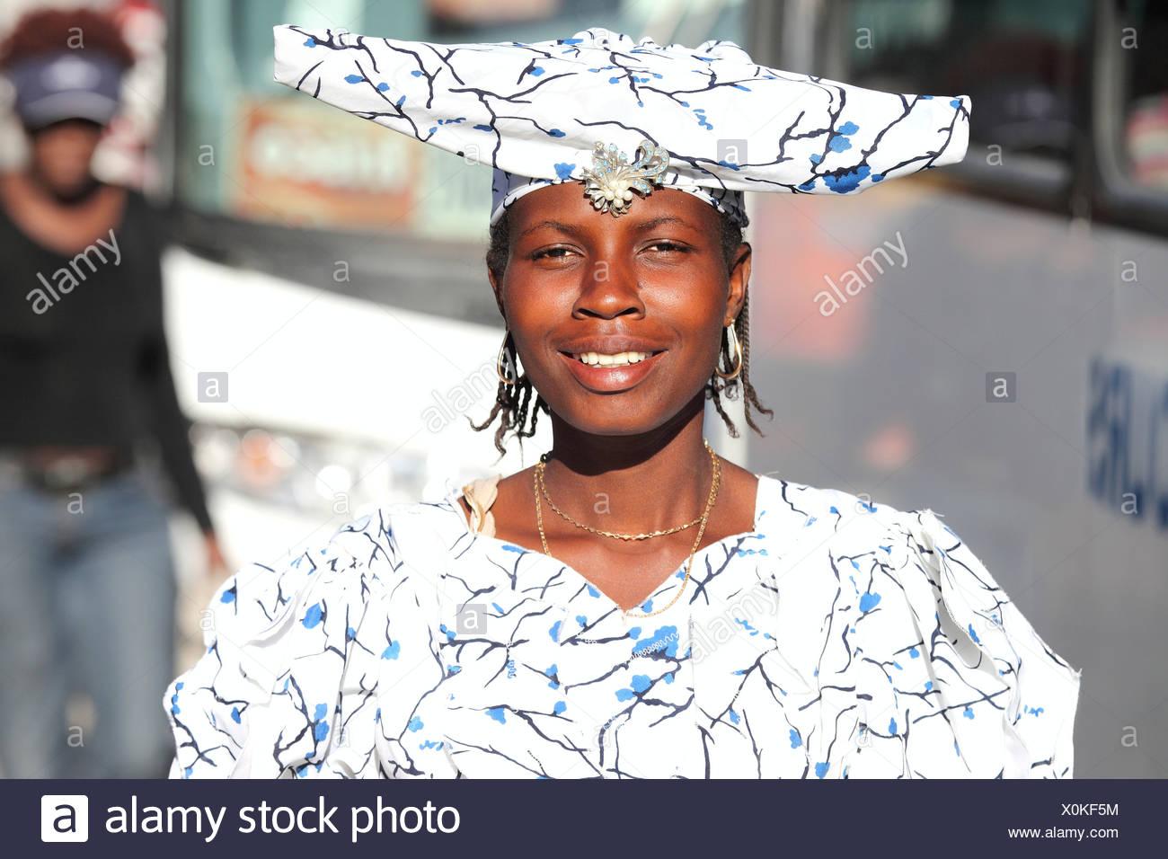 Young Herero woman, Botswana, Africa - Stock Image