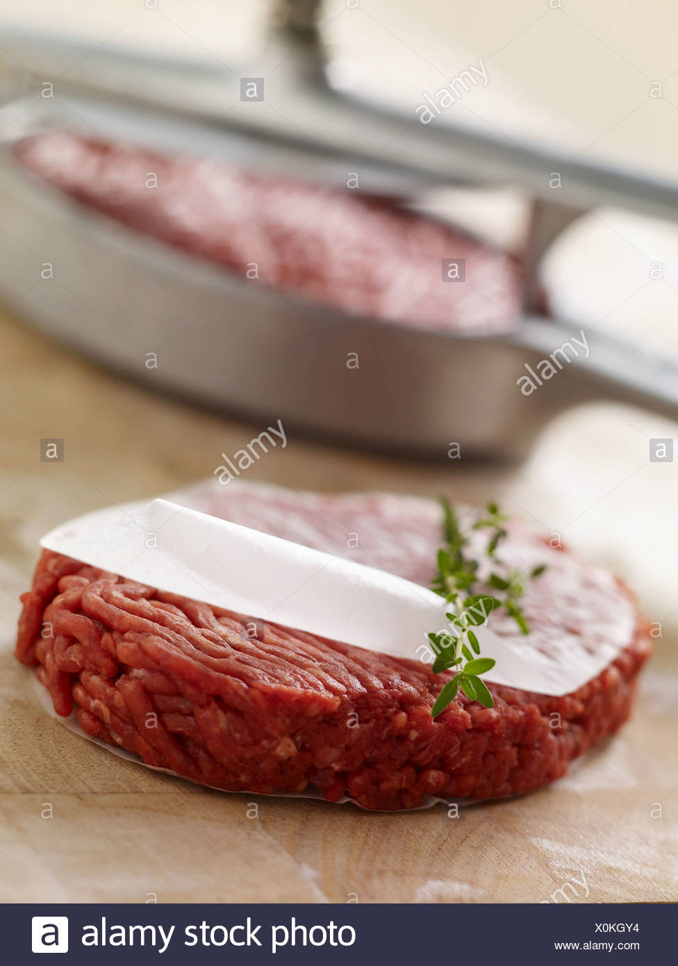 Raw hamburger called Tournedos in Marseilles - Stock Image