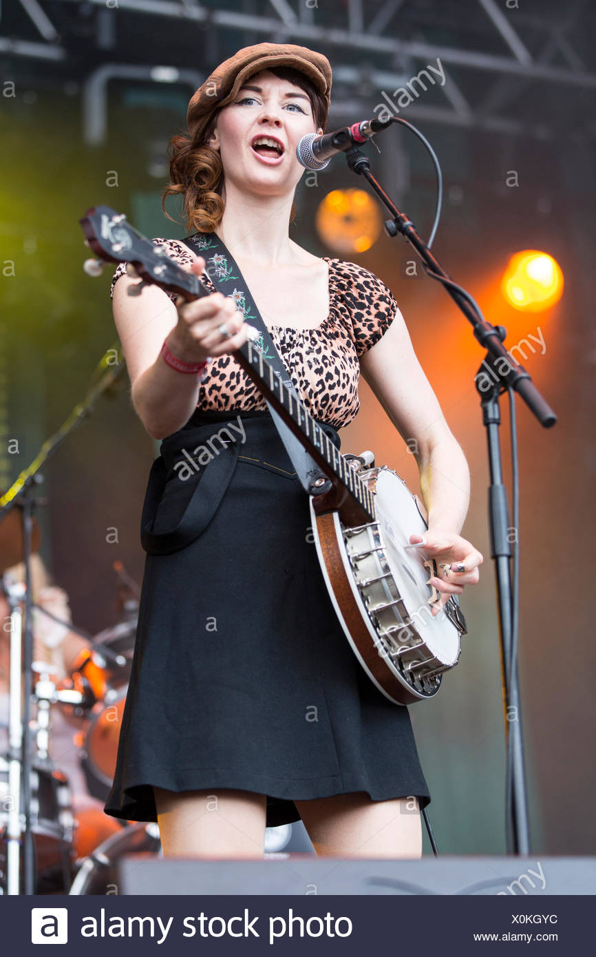 Anne Marit Bergheim with a banjo from the Norwegian girl band Katzenjammer performing live at Heitere Open Air in Zofingen - Stock Image