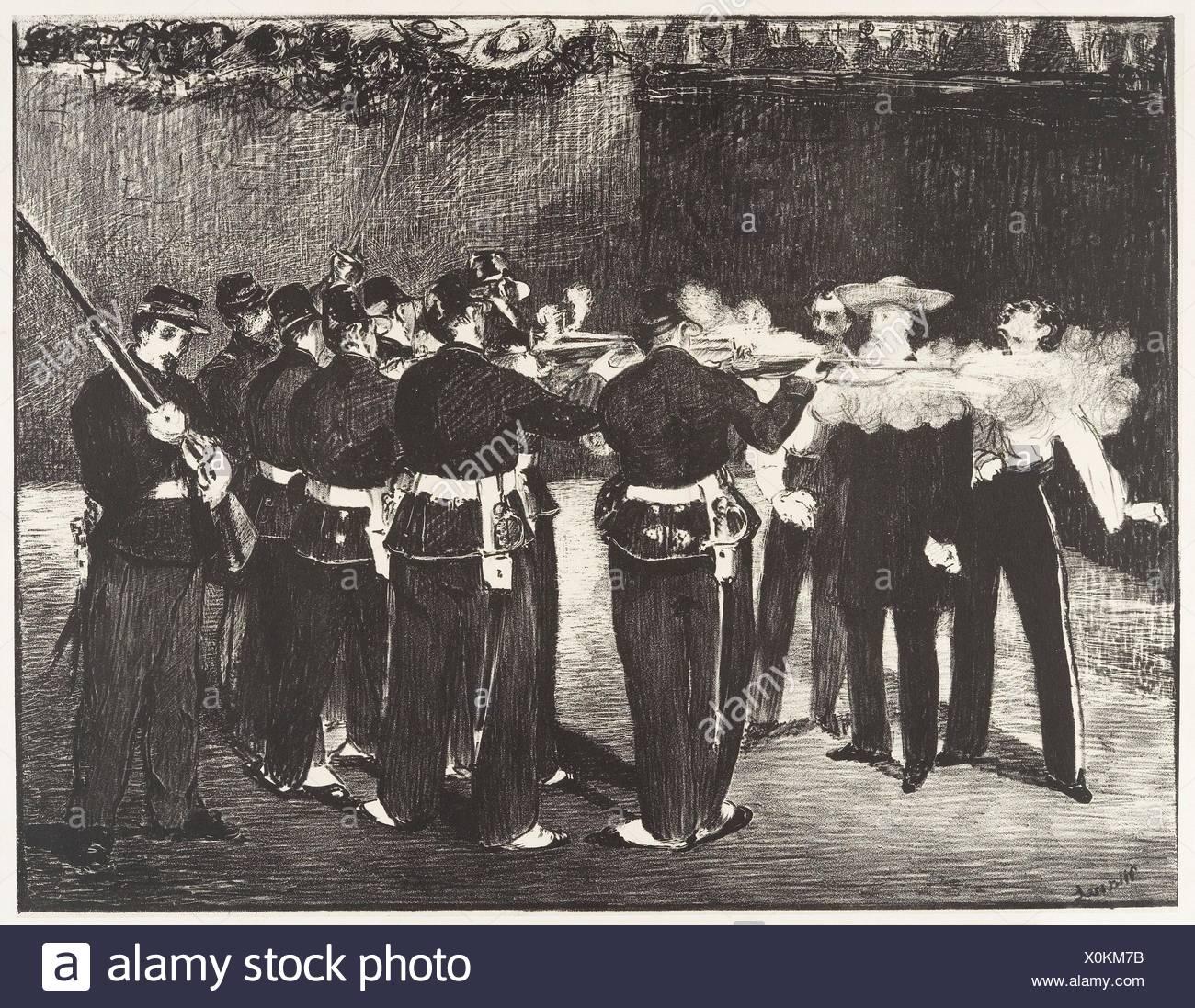 The Execution of the Emperor Maximilian (L´exécution de Maximilien). Artist: Édouard Manet (French, Paris 1832-1883 Paris); Date: 1868; Medium: - Stock Image