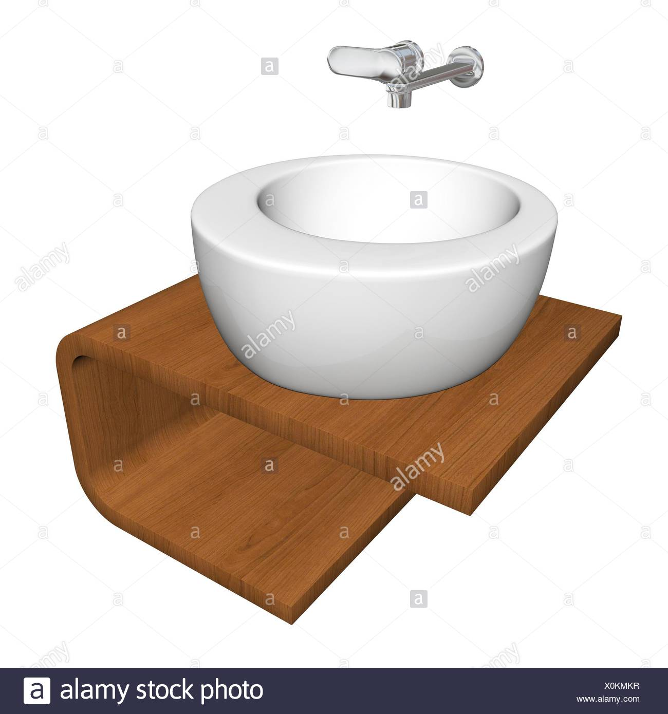 Modern bathroom sink set with ceramic or acrylic wash bowl, chrome fixtures, and wooden base, 3d illustration, isolated against a white background - Stock Image