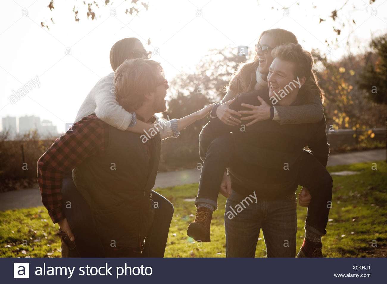 Couples in park - Stock Image
