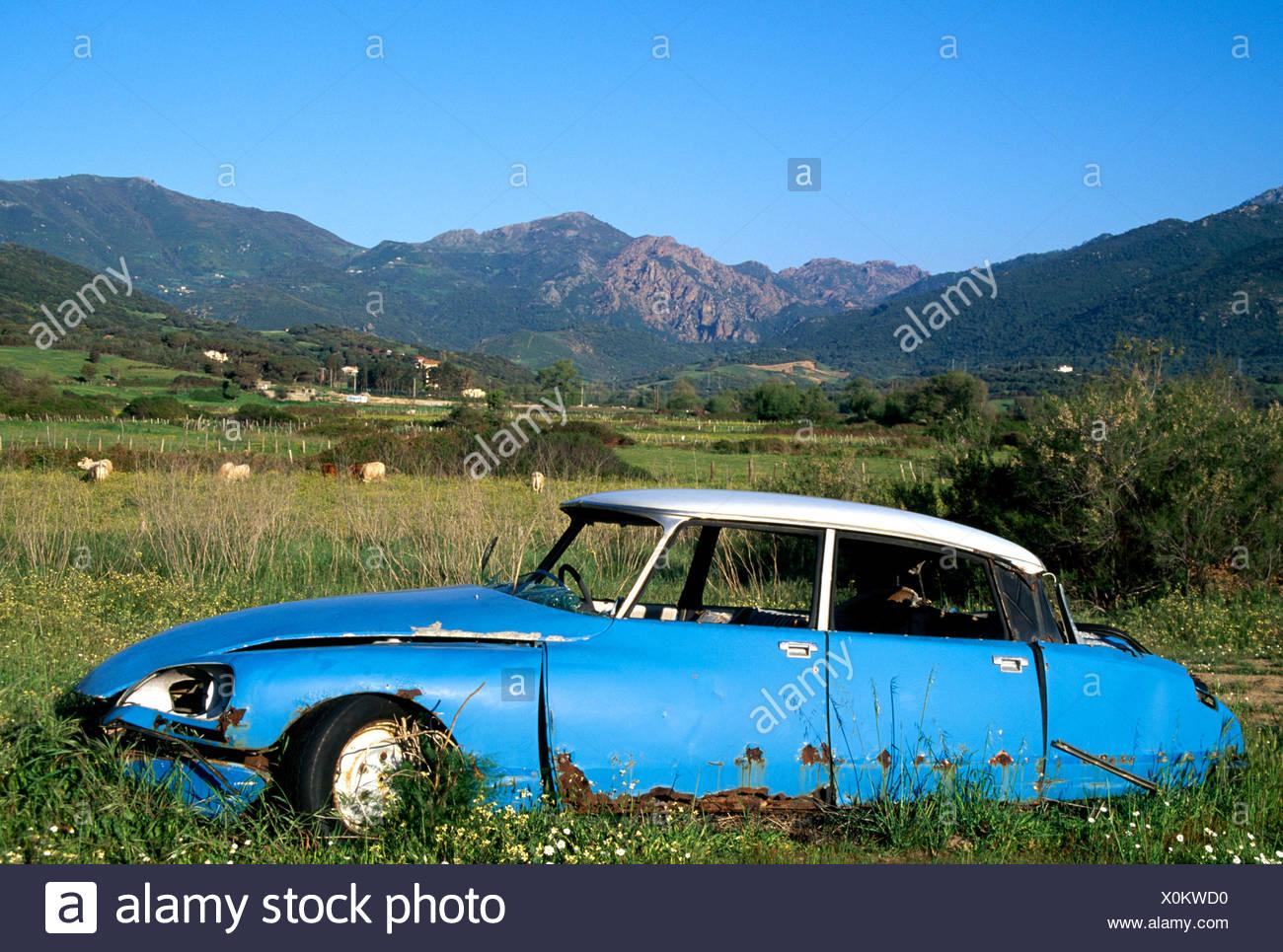 Car wreck, Citroen, Saint Florent, Corsica, France, Europe Stock Photo