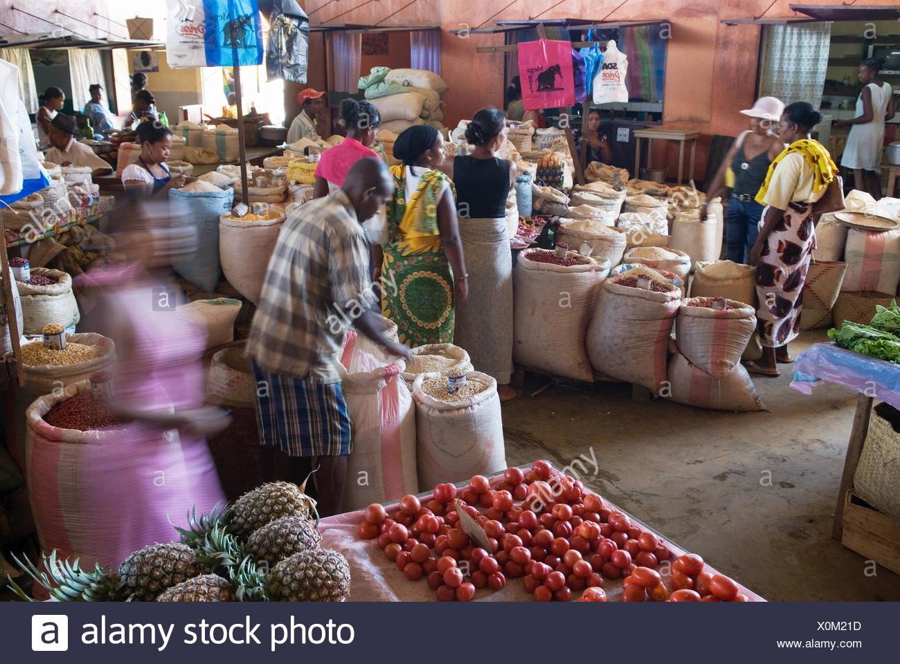 market hall of Hell-Ville Andoany, Nosy Be island, Republic of Madagascar, Indian Ocean - Stock Image