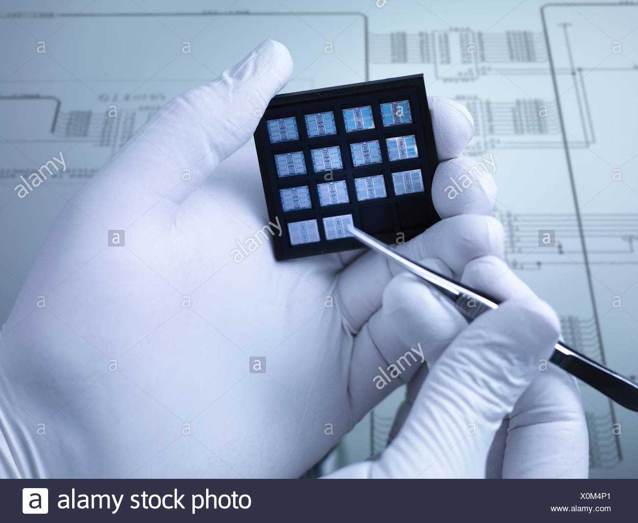 Gloved hands holding small electronic chips in laboratory, close up - Stock Image