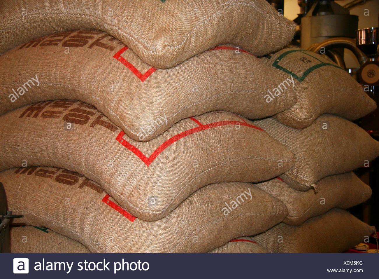 stack,storage,coffee sack - Stock Image