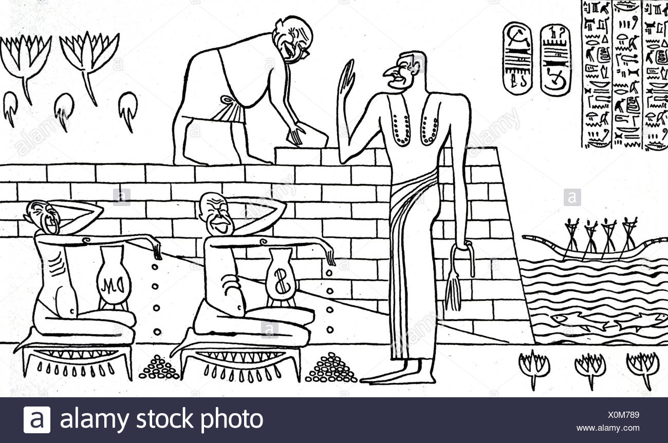 Nasser, Gamal Abdel, 15.1.1918-28.9.1970, Egyptian politician, caricature on the construction of the Aswan Dam, 1950s, drawing, - Stock Image