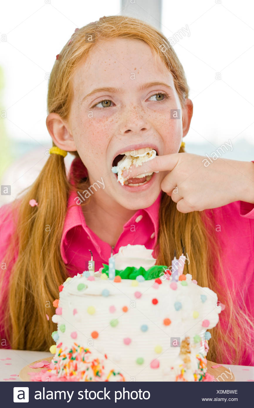 Admirable Girl Eating Birthday Cake Stock Photo 275814266 Alamy Funny Birthday Cards Online Inifofree Goldxyz