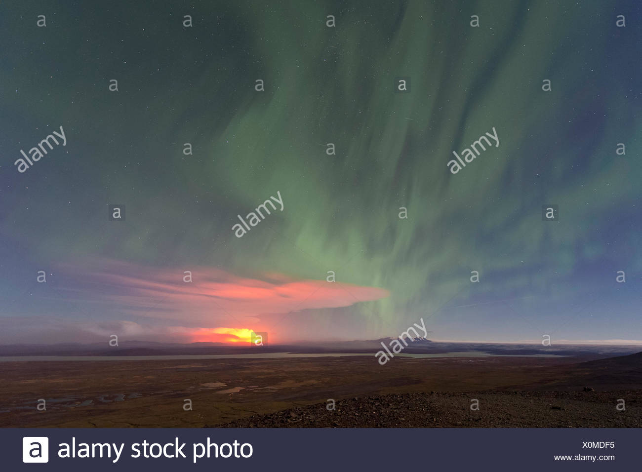 Ash and gas cloud of the Holuhraun fissure eruption, near the volcano Bárðarbunga, northern lights, highlands Stock Photo